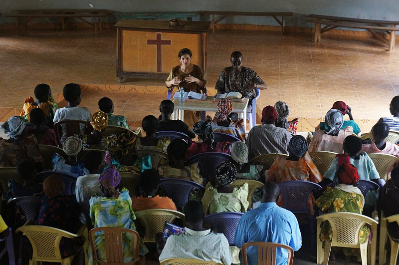 Susan Freese from All In Ministries teaching and equipping women at the partner mission with One More Child.