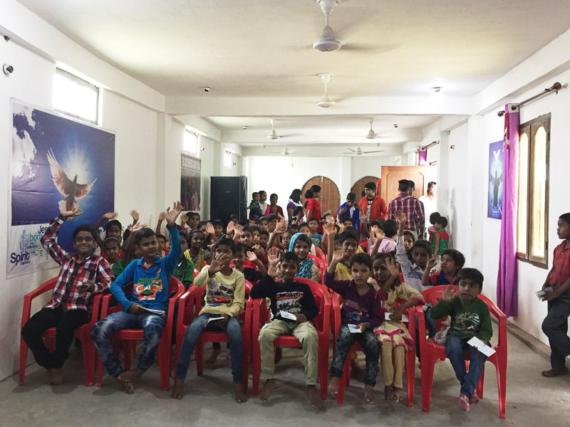 Children learning about God's love at the same time as our women's conference in India.
