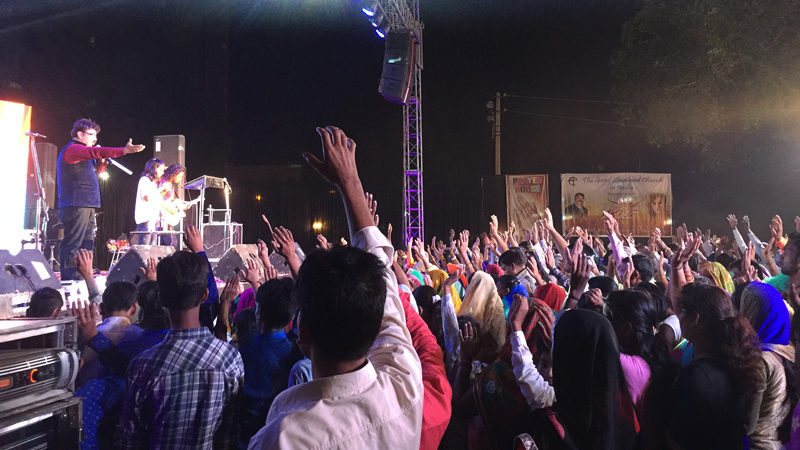 Families gather at the All In outreach event in India