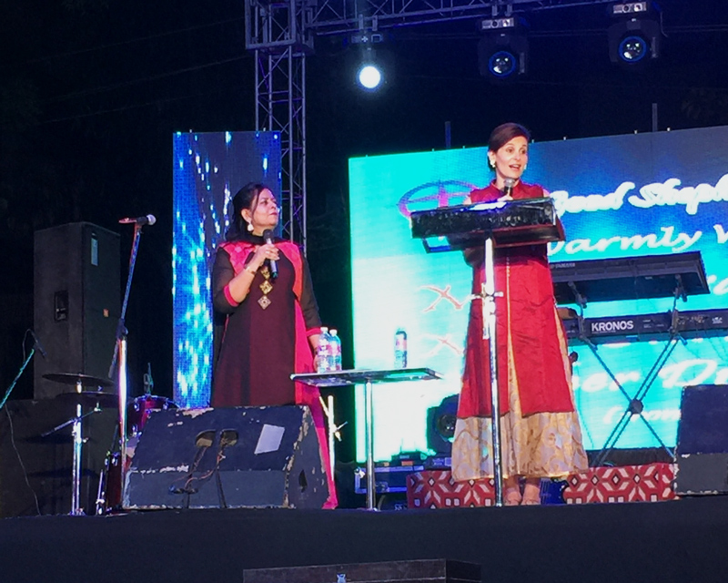 Susan Freese speaks at the Outreach event at the All In India Conference.